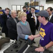 Hillary Clinton visits TechWorks Campus in Waterloo, Iowa